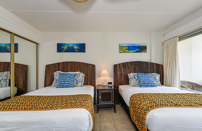 Two Comfy Double Beds and Ceiling Fan