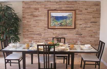 Dining Area with Custom Rock